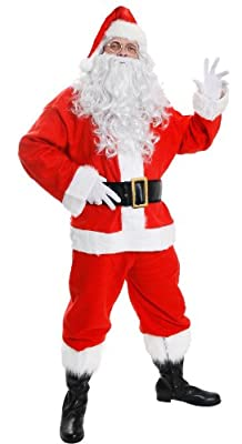 "Deluxe Santa Costume ""10 Piece"" Velour Father Christmas Outfit Xxl Inc Jacket + Trousers + Hat + Eyebrows + Wig + Beard + Glasses + Gloves + Boot Covers + Belt. Made By Ilovefancydress"