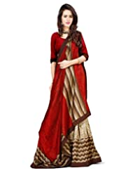 Inddus Women Red & Gold Toned Art Silk Fashion Saree