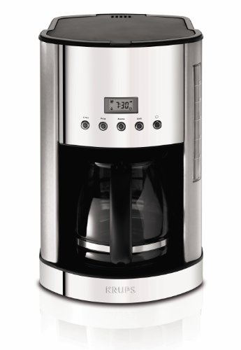 KRUPS KM730D50 Breakfast Set Permanent Filter Coffee Maker with Brushed and Chrome Stainless Steel Housing, 12-cup, Silver