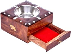 Aarsun Handcrafted Wooden Ashtray with Drawer