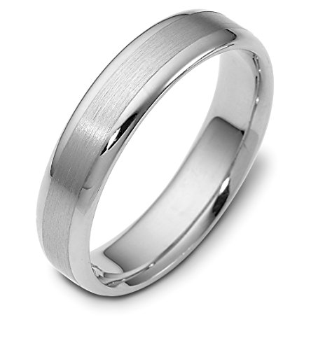 Where To Buy Mens 10K White Gold Satin And Polished 5MM Wedding Band