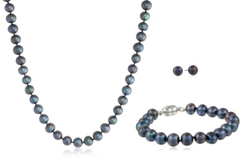 Dyed Peacock Black Freshwater Cultured Pearl Neckalce, Bracelet and Stud Earrings 3-Piece Base Metal Set (8-8.5mm), 18″