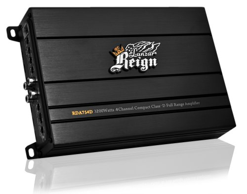 Lanzar Rda754D Reign 3200 Watt 4-Channel Compact Class-D Full Range Amplifier