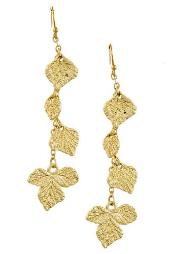 Trendy Fashion Jewelry Metal Leaf Drop Earrings By Fashion Destination | (Matted Gold)