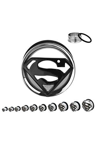 Dilatatore per orecchio, con Logo di Superman, in acciaio, colore: 10mm, cod. IC101910-0002