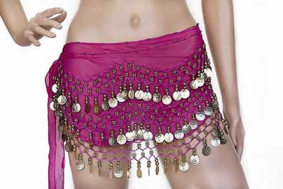 Belly Dance Hip Skirt Scarf Wrap Belt costume with 3 Rows Gold 128 Coins Rose Red