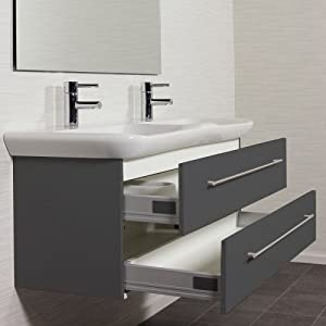 badm bel keramag myday 130 cm anthrazit seidenglan waschtisch badezimmer unterschrank. Black Bedroom Furniture Sets. Home Design Ideas