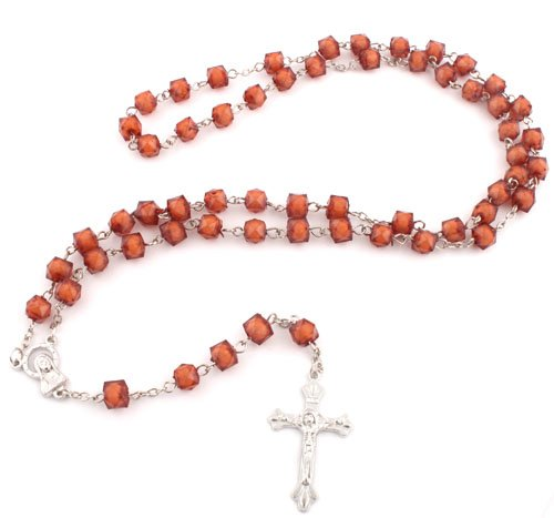 Ladies Brown 39 Inch Squared Rosary Beaded Necklace with Mother Mary Charm and Jesus Cross Pendant