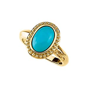 14K Yellow Gold 1 7/8 ct. Turquoise Cabochon Fashion Ring