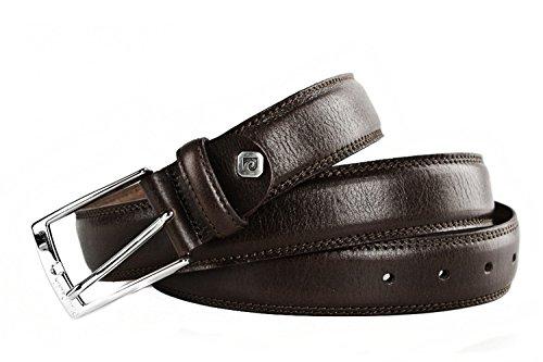Cintura uomo PIERRE CARDIN moro classica in pelle con impunture 110 cm R4599
