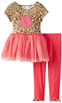 Bonnie Jean Girls 2-6X Leopard Tutu Legging Set, Fuchsia, 2T