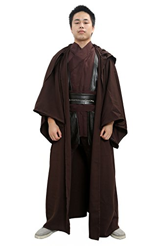 Xcoser Anakin Skywalker Costume SW Cosplay Suit Woolen Cloth Black for Men Halloween