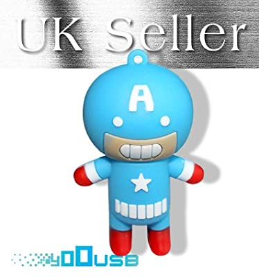 16GB Novelty Captain America USB Flash Pen Drive Memory Stick Gift UK [PC] from YooUSB