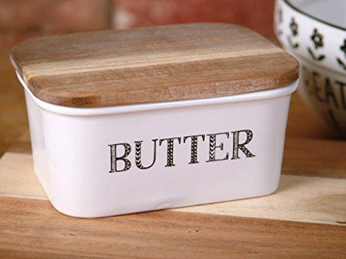 """Creative Tops """"Bake Stir It Up"""" Butterdose aus Steingut mit Deckel aus Akazienholz, groß, Weiß"""