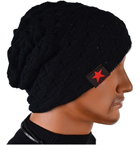 Thenice Cappello Uomo Reversibile Berretto Inverno Cap (Nero (Black))