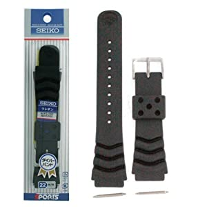 Seiko Original Rubber Curved Line Watch Band 22mm Divers Model and Genuine Seiko Spring Bars
