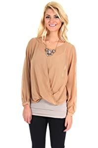 Timing Sheer Long Sleeve Tunic Khaki