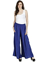 Splendent Palazzo Pants For Women, Wide Leg Harem Pants, Stretchable Waist Pants For Women, Blue