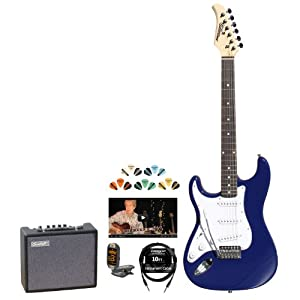 Silvertone SS15LH-CBL-KIT-2 Revolver SS15 Left-Handed Cobalt Blue Electric Guitar with Tuner, Cable, Pick Sampler and Amp