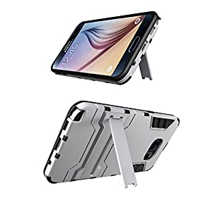 Galaxy Note 5 Case, [Heavy Duty] Galaxy Note 5 Cases with Kickstand [Dual Layer] Hard Case Cover Protective Bumper Skin for Samsung Galaxy Note 5, Silver / Black