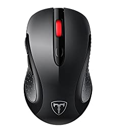 TOMOKO 2.4G Wireless Mouse, VicTsing Mobile Optical Mouse Computer Mice with 6 Buttons, Nano Receiver ,15 Months Battery Life, 2400 DPI 5 Adjustable Level Black