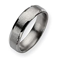 Titanium Beveled Edge 6mm Satin Polished Band Size 8