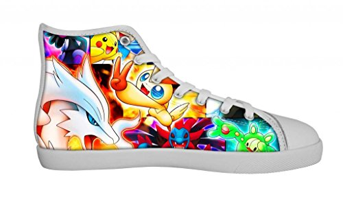 GOUDAN Cartoon Anime Pocket Monster Pokemon Pikachu Women's White High Top Canvas Shoes -6M