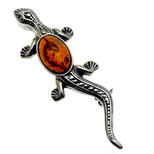 Certified Genuine Honey Amber and Sterling Silver Lizard Pin