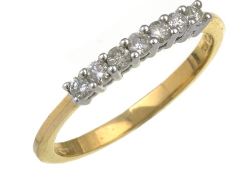 Eternity Ring, 9ct Yellow Gold Diamond Ring, Claw Set, 1/4 Carat Diamond Weight