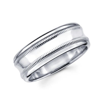 Solid 14k White Gold Womens Mens Milgrain High Polish Wedding Ring Band 6MM Size 10