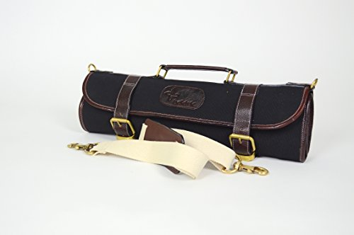 Boldric Canvas Roll Knife Bag with Strap, Black