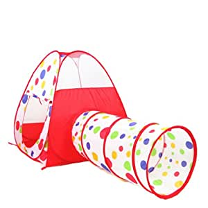 polka dot indoor outdoor play tent pop up play house with tunnel combo toys games. Black Bedroom Furniture Sets. Home Design Ideas
