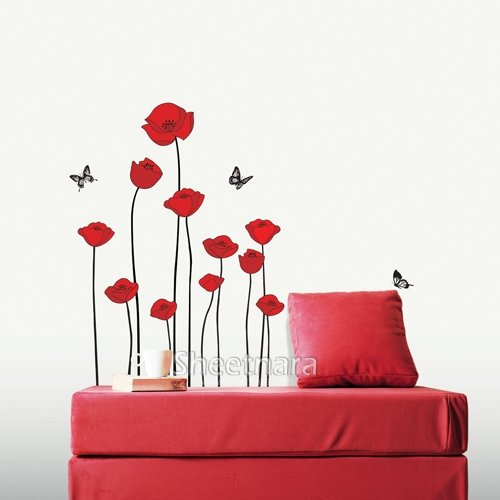 RED POPPY DECOR MURAL ART WALL PAPER STICKER SS-58218