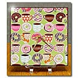 Colorful Retro Coffee and Doughnuts Print - 6x6 Desk Clock