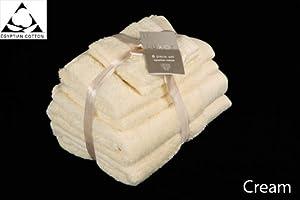 CREAM 650gsm 6pc Prestige 'Luxor' Egyptian Cotton Towel Bale Bundle Gift Set