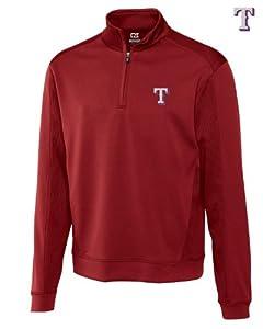 Texas Rangers Mens DryTec Edge Half Zip Jacket Cardinal Red by Cutter & Buck