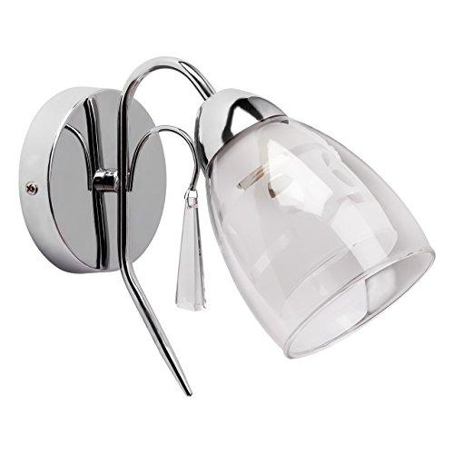 Applique style classique, moderne, armature en métal couleur chrome, plafonnier en verre, décoré avec cristal 1 ampoule non-incl.1 x 60W E27 230V