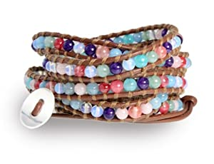 Blue Moon Gemstone Wrap Bracelet with Moonstone and Blue, Purple, Coral, Pink and Aqua Agate Beads on Genuine Brown Leather, 5x Extra Long Wrap