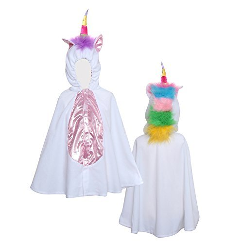 Storybook Wishes White and rainbow Unicorn Hooded Cape