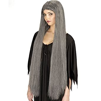 Amazon Com Long Grey Witch Wig Costume Wigs Clothing