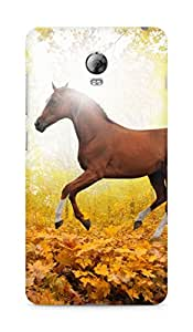 Amez designer printed 3d premium high quality back case cover for Lenovo Vibe P1 (Horse art animal fall leaf mountain red)