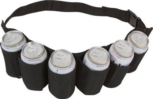 EZ Drinker Beer and Soda Can Holster Belt, holds 6 Cans(Black)