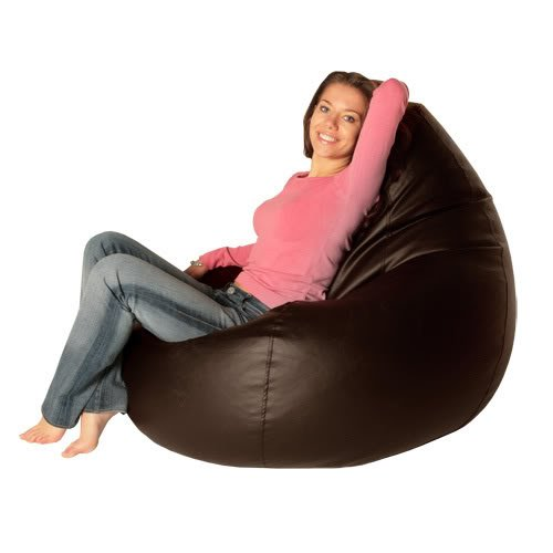gaming bean bag designer recliner brown faux leather beanbag chair by bean bag bazaar at the. Black Bedroom Furniture Sets. Home Design Ideas