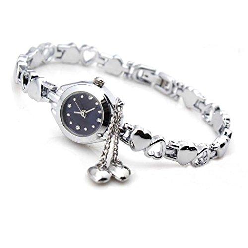 SODIAL(R) Orologio da polso, al quarzo, da donna, a catena, con charm a cuore, in argento