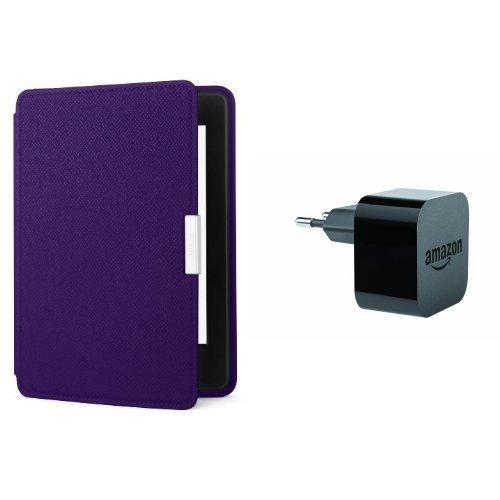 Pack accessoires Kindle: étui Amazon en cuir pour Kindle Paperwhite (Violet) + chargeur Amazon PowerFast