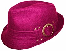 EH140FL - Unisex Structured Wool Fedora Winter Hat ( 3 Colors ) - Fuscia/One Size