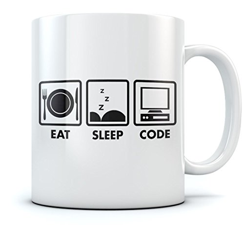Eat Sleep Code Coffee Mug - Geek Gift Idea - Funny Programmer Coder Tea Cup Mug 11 Oz. White