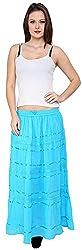 Rvestir Women's Cotton A-line Skirt (OM077, Blue)