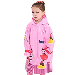BIKMAN Girl\'s Cute Cartoon Pattern Rainwear Hooded Raincoat for School (L(6-10 years old), pink bee)
