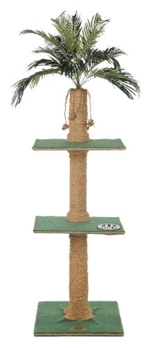 Kitty Palm Cat Tree with Palm Top, Green Carpet, Manila Rope, 2 Platform, 60 Inches